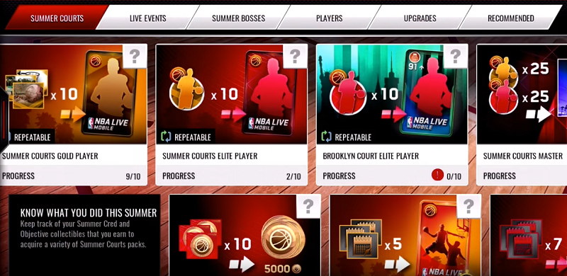 NBA Live Mobile Summer Courts Packs