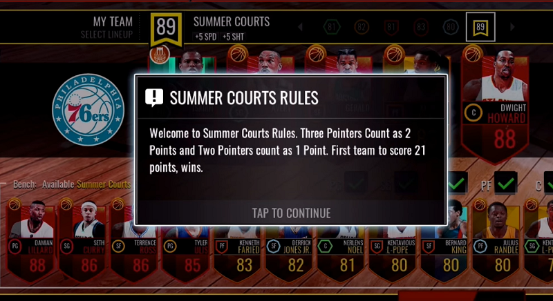 NBA Live Mobile Summer Courts Rules